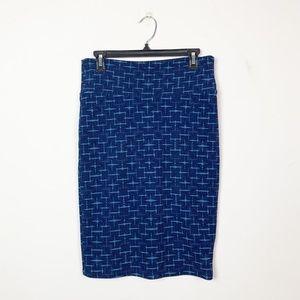 🍩LuLaRoe Cassie Pencil Skirt Blue Crosshatch